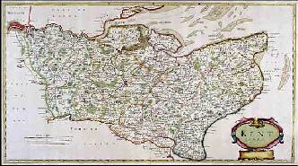 17th century map of Kent